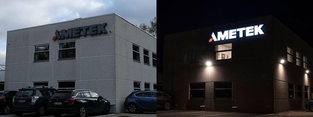 Ametek, Allerød – bogstaver i lakeret aluminium, med frontlys. Monteret på skinner. Day/night folie på fronter af bogstaver.