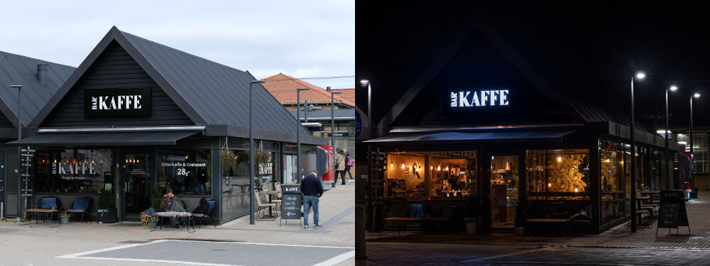 Bar Kaffe, Allerød – lakeret alukassette med lys gennem udfræste akrylbogstaver i front.