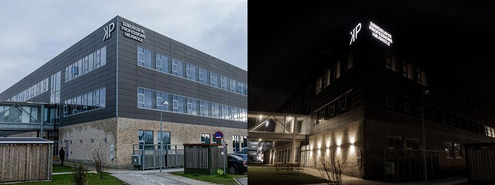 Københavns Professionshøjskole, Hillerød – bogstaver i lakeret aluminium, med frontlys. Monteret på skinner.