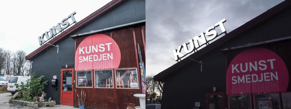 Kunstsmedjen, Roskilde – bogstaver i lakeret aluminium, med frontlys. Monteret på skinner.