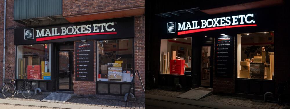 Mail Boxes ETC, Østerbro – lakeret alukassette påmonteret alubogstaver med frontlys.