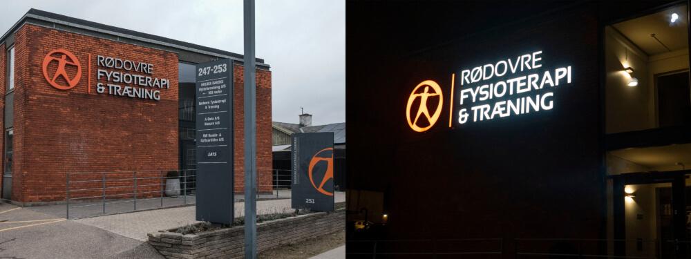Rødovre Fysioterapi og Træning – logo og bogstaver i lakeret aluminium, med frontlys. Monteret enkeltvis på mur.