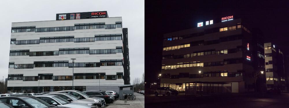 Ricoh, Vallensbæk – bogstaver i lakeret aluminium, med frontlys. Monteret enkeltvis på mur.