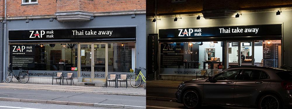 Zap Mak Mak, Frederiksberg – lakerede alukassetter med lys gennem udfræste akrylbogstaver i front.